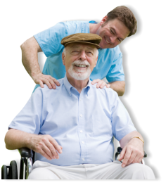 male caregiver massaging the shoulder of the patient
