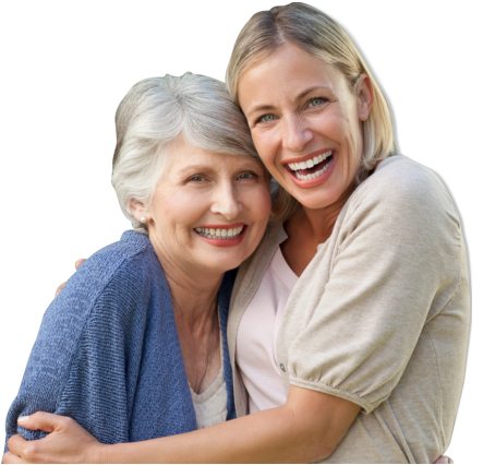 caregiver and patient happily hugging each other
